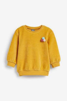 Next Girls Ochre Velour Rib Crew Top (3mths-7yrs) - Yellow