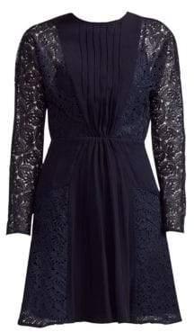 Maje Lace Crepe A-Line Dress