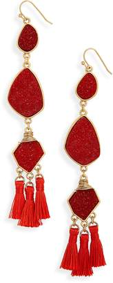 Panacea Drusy Tassel Earrings