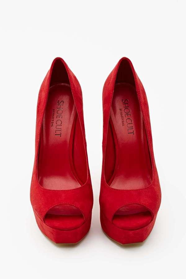 Nasty Gal Shoe Cult Chemistry Platform Pump - Red
