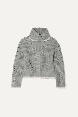 Fendi Pointelle-knit Silk, Mohair And Cashmere-blend Turtleneck Sweater - Gray