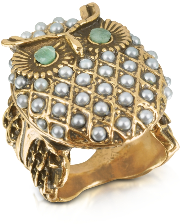 Alcozer & J Owl Brass & Glass Pearl Ring
