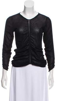 Helmut Lang Ruched Mesh Top
