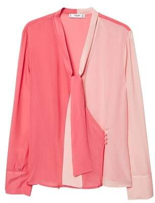 MANGO Two-tone flowy blouse