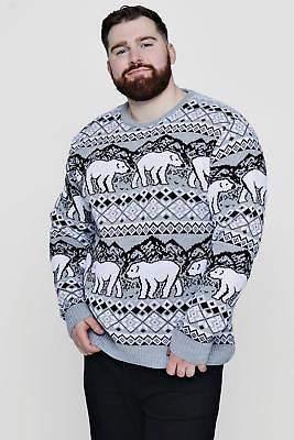 boohoo NEW Mens Big And Tall Christmas Polar Bear Jumper in Grey size Xxxl