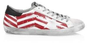 Golden Goose Men's Men's Red Flag Superstar Sneakers - White Red - Size 39 (6)