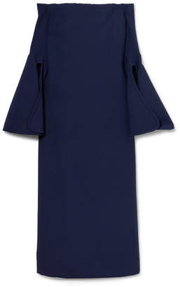 Ellery Gertie Off-the-shoulder Crepe Midi Dress - Navy