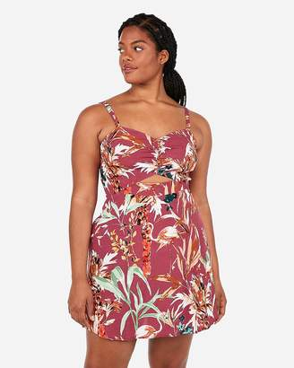 Express Mixed Floral Print Front Cut-Out Sweetheart Mini Dress