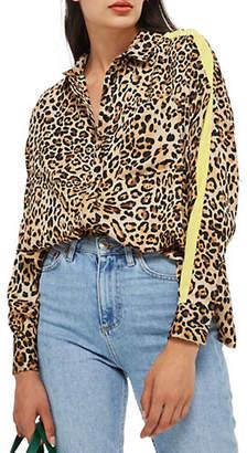 Topshop Leopard Print Side Stripe Blouse