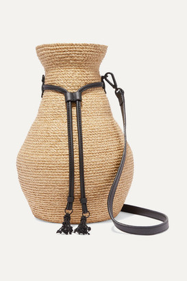 Albus Lumen Figura Leather-trimmed Raffia Shoulder Bag