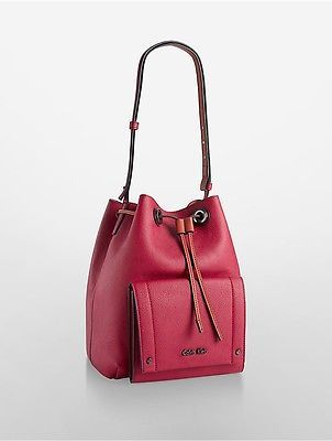 Calvin KleinCalvin Klein Womens Kira Drawstring Bucket Bag Garnet W/Sienna