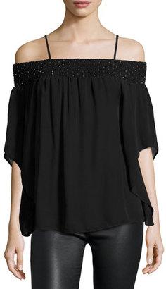 Parker Meilani Embellished Off-the-Shoulder Silk Blouse, Black $198 thestylecure.com