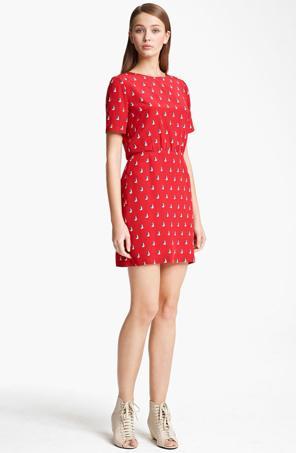 Boy By Band Of Outsiders Sailboat Print Crepe de Chine Dress