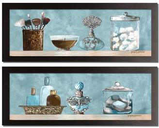 Laundry by Shelli Segal Red Barrel Studio 'Powder Blue Bathroom Scenes Panels' 2 Piece Acrylic Painting Print Set Format: Brown Framed Paper