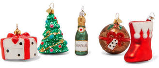 Bombki - Little Nap Christmas Set Of Five Glass Baubles - Red