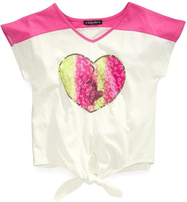 Baby Phat Shirt, Girls Graphic Tie-Front Tee