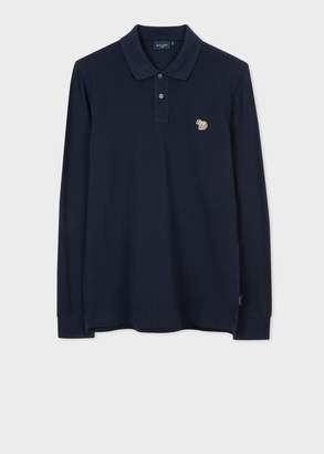 Paul Smith Men's Navy Zebra Logo Long-Sleeve Polo Shirt