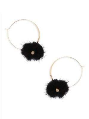 Ettika Black Puff Hoop Earrings