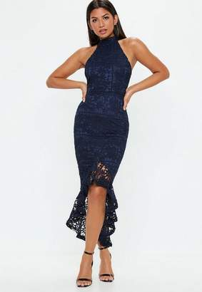 Missguided Navy Lace high Neck Fishtail Midi Dress