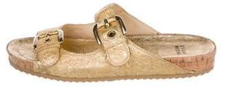Stuart Weitzman Metallic Leather Sandals w/ Tags