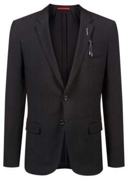 HUGO Boss Extra-slim-fit wool-blend jacket removable embellishment 38R Black
