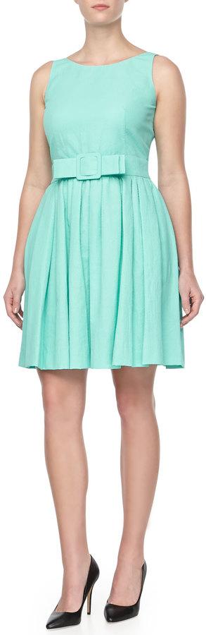 Paule Ka Pique Belted Full-Skirt Dress, Aqua