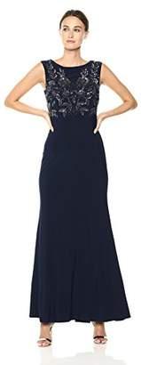 Adrianna Papell Women's Long Beaded Cap Sleeve Dress