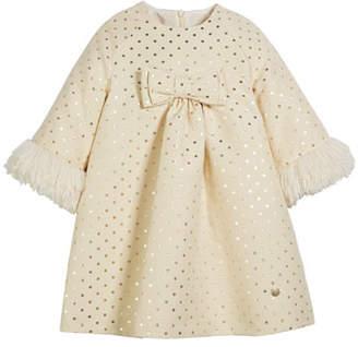 Carrera Pili Metallic Polka-Dot Long-Sleeve Dress w/ Faux Fur Cuffs, Size 4-10