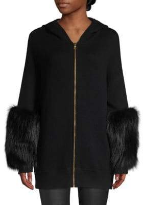 Alice + Olivia Joey Fox Fur Cuff Zip-Front Cardigan