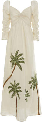Agua Bendita Agua By America Palm-Detailed Linen Dress