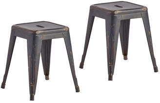 Rejuvenation Pair of French Air Force Tolix Stools w/ Aged Original Finish