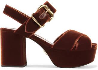 Prada Velvet Platform Sandals - Chocolate