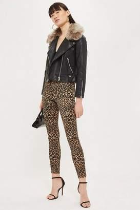 Topshop Leopard Print Satin Jamie Jeans