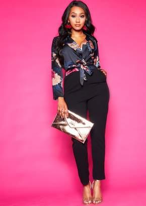 9ddb2873cf4c Missy Empire Missyempire Millie Black Floral Silk Wrap Jumpsuit