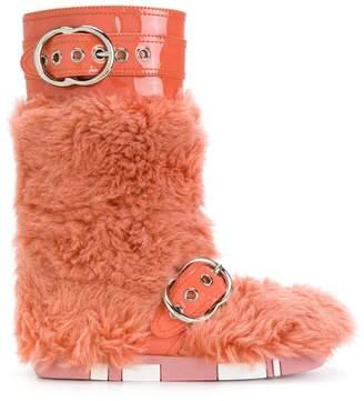 Miu Miu fur buckled boots