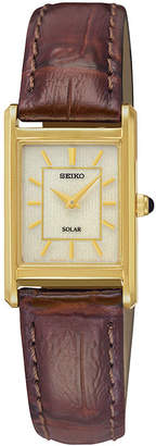Seiko Womens Brown Leather Strap Solar Watch SUP252
