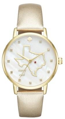 Women's Kate Spade New York Metro Texas State Of Mind Leather Strap Watch, 34Mm $195 thestylecure.com