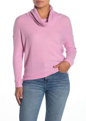 Socialite Cowl Neck Waffle Knit Pullover