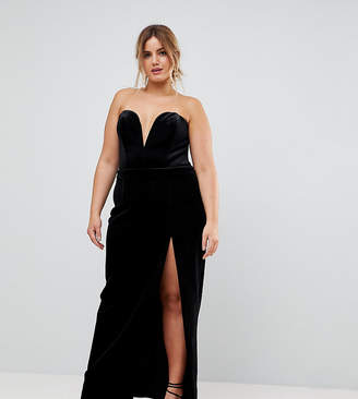 Taller Than Your Average TTYA BLACK Plus Structured Bandeau Maxi Dress With High Thigh Split