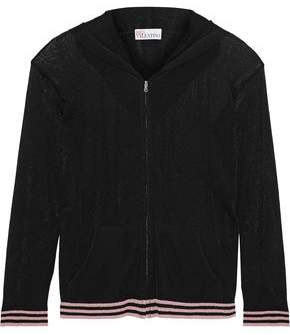 RED Valentino Metallic Open-Knit Hooded Cardigan