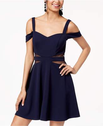 Speechless Juniors' Cold-Shoulder Illusion-Contrast Dress