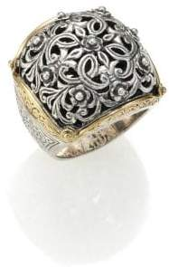 Konstantino Women's Classics 18K Yellow Gold& Sterling Silver Floral Filigree Ring - Silver Gold - Size 7
