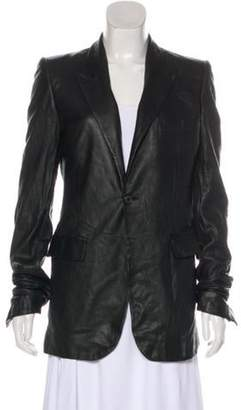 Balmain Notch-Lapel Leather Blazer Black Notch-Lapel Leather Blazer
