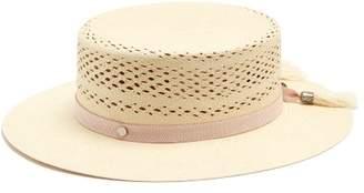 Maison Michel Kiki Straw Boater Hat - Womens - Beige