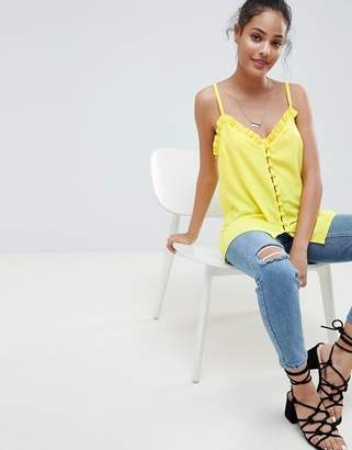 Asos DESIGN button front cami with ruffle detail