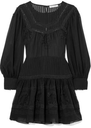 LoveShackFancy Mallory Lace-trimmed Silk-chiffon Mini Dress - Black