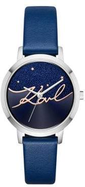 Karl Lagerfeld Camille Stainless Steel and Leather-Strap Watch