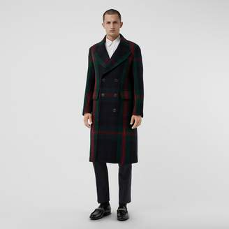 Burberry Tartan Wool Mohair Blend Tailored Coat , Size: 46, Blue