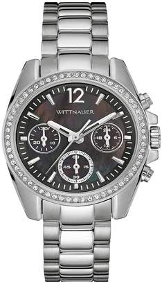 Wittnauer Wn4040 Women's Chronograph Stainless Steel Bracelet Band Black Dial Watch