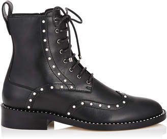 Jimmy Choo HANAH FLAT Black Smooth Leather Boots with Pearl Detailing